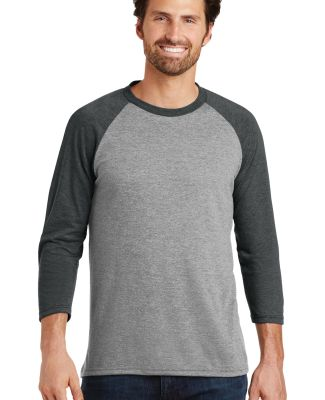 DM136 District Made Mens Perfect Tri-Blend Raglan Black Fr/Gry F