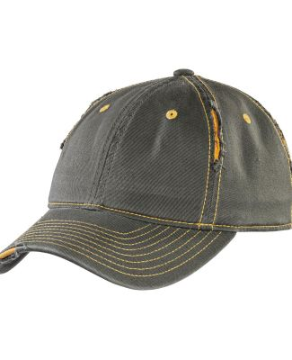 DT612 District Rip and Distressed Cap  Army/Gold