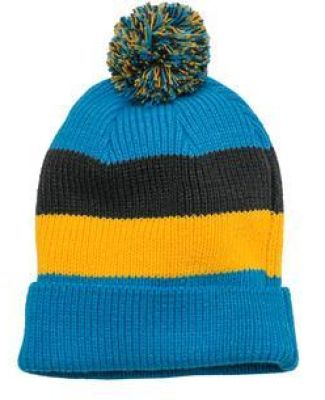 DT627 District Vintage Striped Beanie with Removable Pom Catalog