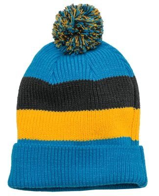 DT627 District Vintage Striped Beanie with Removab Turqu Multi