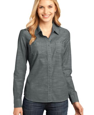 DM4800 District Made Ladies Long Sleeve Washed Wov Grey