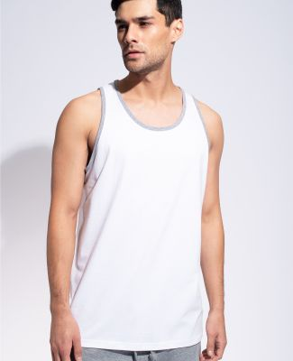 MC1792 Cotton Heritage Men's Ringer Tank White/Athletic Heather