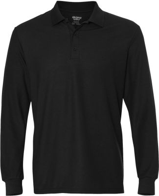 Gildan G729 DryBlend Double Pique Long-Sleeve Polo BLACK
