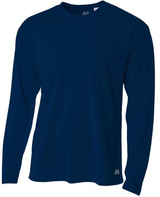 N3253 A4 Drop Ship Men's Long Sleeve Crew Birds Ey Navy