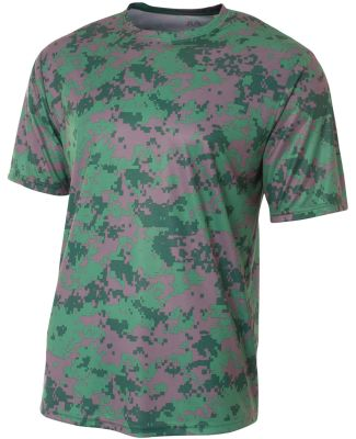 N3256 A4 Drop Ship Men's Camo Performance Crew T-S Forest