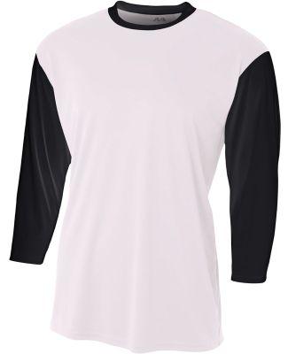 N3294 A4 Drop Ship Men's 3/4 Sleeve Utility Shirt WHITE/ BLACK