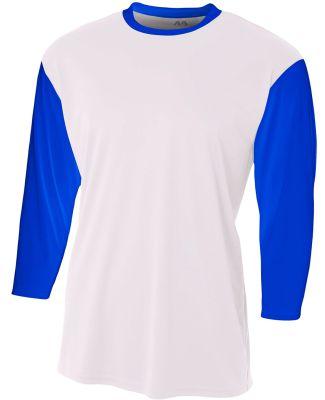 N3294 A4 Drop Ship Men's 3/4 Sleeve Utility Shirt WHITE/ ROYAL