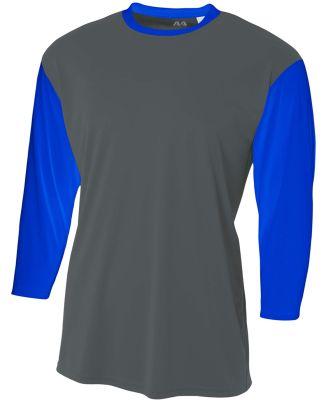 N3294 A4 Drop Ship Men's 3/4 Sleeve Utility Shirt Graphite Royal