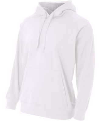 N4237 A4 Drop Ship Men's Solid Tech Fleece Hoodie White