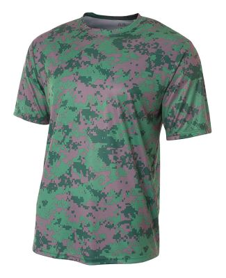 NB3256 A4 Drop Ship Youth Camo Performance Crew T- Forest