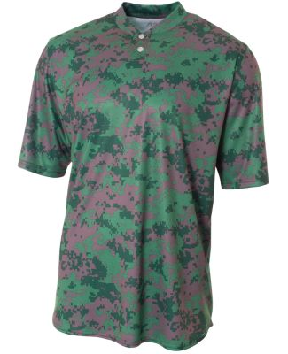 NB3263 A4 Drop Ship Youth Camo 2-Button Henley Shi Forest