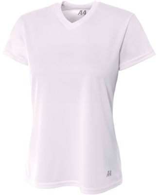 NW3254 A4 Drop Ship Ladies' Shorts Sleeve V-Neck B WHITE
