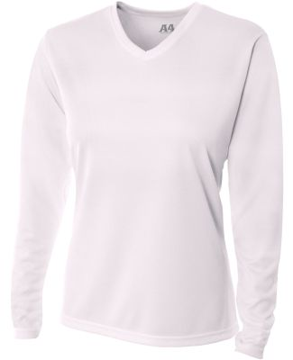 NW3255 A4 Drop Ship Ladies' Long Sleeve V-Neck Bir White