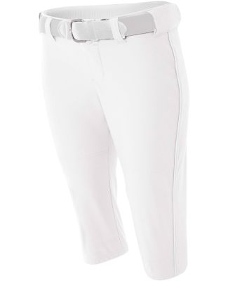 NW6188 A4 Drop Ship Ladies' Softball Pants w/ Pipi White