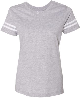 LAT 3537 Women's V-Neck Football Tee VN HTHR/ BLD WHT