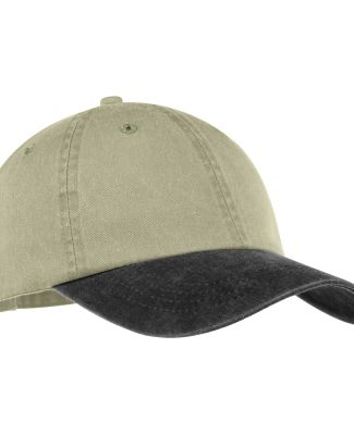 Port & Company CP83 Pigment-Dyed Dad Hat   Khaki/Black