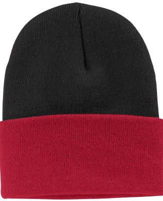 Port & Company CP90 Knit Beanie Black/Red