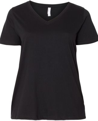 LAT 3807 Curvy Collection Women's V-Neck Tee BLACK