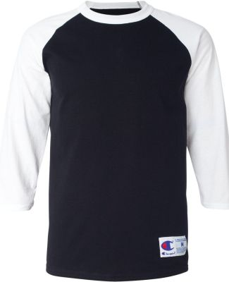 T137 Champion Logo Raglan Baseball Tee Black/ White