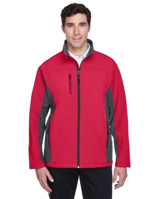 D997 Devon & Jones Men's Soft Shell Colorblock Jac RED/ DK CHARCOAL