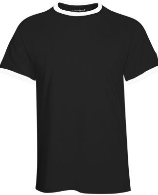 T1396 Champion Logo Cotton Ringer Tee Black/ White
