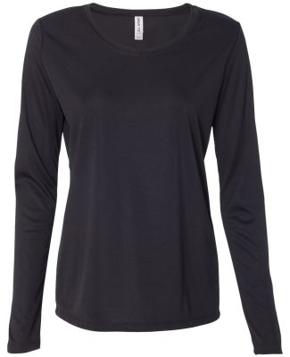 W3009 All Sport Ladies' Performance Long-Sleeve T- Black