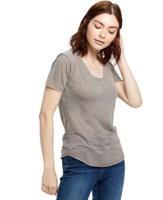 US Blanks US333 Womens Slub Burnout Tee Tri-Grey