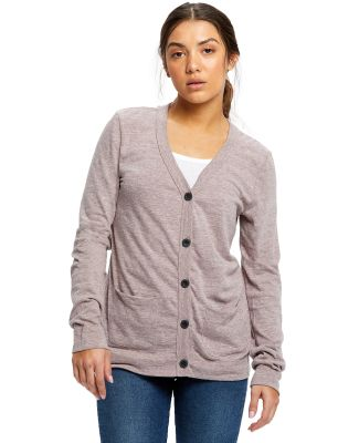 US Blanks US950 Women's Tri-Blend Cardigan Tri/Brown