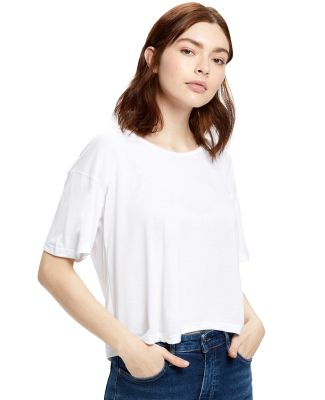 US Blanks US309 Modal Flowy Crop Top White