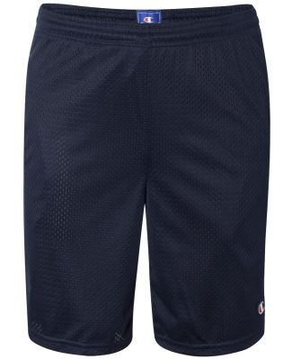 S162 Champion Logo Long Mesh Shorts with Pockets Navy