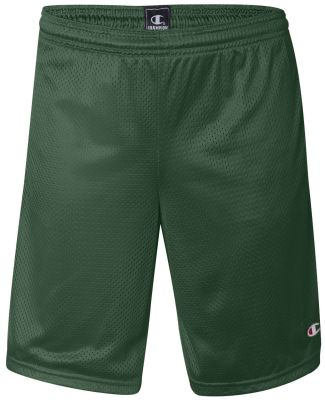 S162 Champion Logo Long Mesh Shorts with Pockets Athletic Dark Green