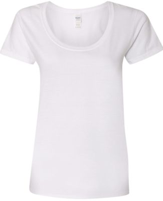Gildan 64550L Softstyle Women's Deep Scoopneck T-S WHITE