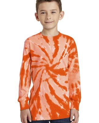Port & Co PC147YLS mpany   Youth Tie-Dye Long Slee Orange