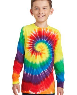 Port & Co PC147YLS mpany   Youth Tie-Dye Long Slee Rainbow