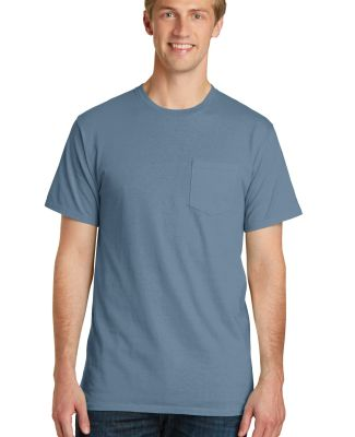 Port & Co PC099P mpany   Pigment-Dyed Pocket Tee Denim Blue
