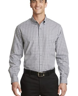 Port Authority S654    Long Sleeve Gingham Easy Ca Black/Charcoal