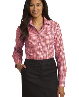Port Authority L654    Ladies Long Sleeve Gingham  Tangerine/Pink