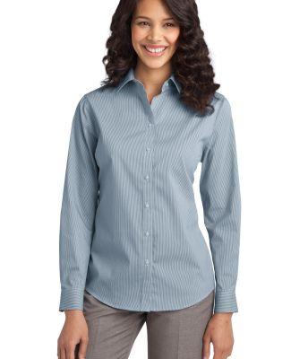 Port Authority L647    Ladies Fine Stripe Stretch  Moonlt Blue/Wh