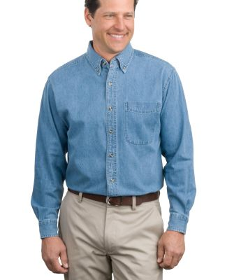 Port Authority S600    Long Sleeve Denim Shirt Faded Denim