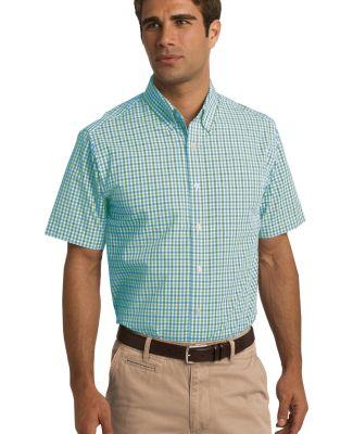 Port Authority S655    Short Sleeve Gingham Easy C Green/Aqua