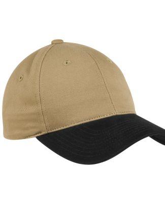 Port Authority C815    Two-Tone Brushed Twill Cap Khaki/Black