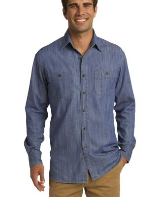 Port Authority S652    Patch Pockets Denim Shirt Lt Indigo