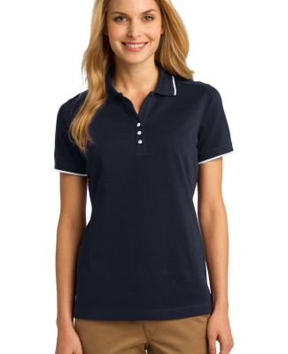 Port Authority L454    Ladies Rapid Dry Tipped Pol Cl Navy/White