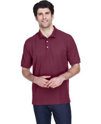 D100 Devon & Jones Men's Pima Pique Short-Sleeve P BURGUNDY