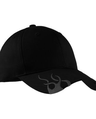 Port Authority C857    Racing Cap with Flames Black/Charcoal