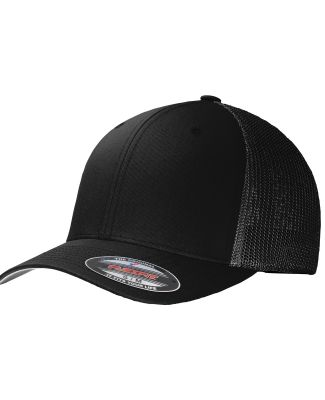 Port Authority C812    Flexfit   Mesh Back Cap Black/Black