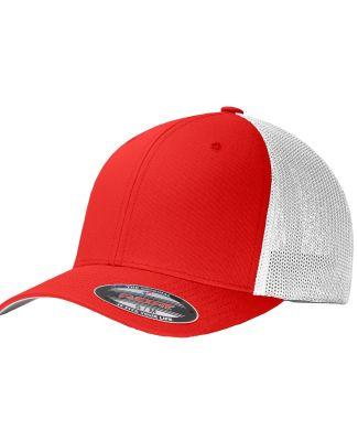 Port Authority C812    Flexfit   Mesh Back Cap Tr Red/White