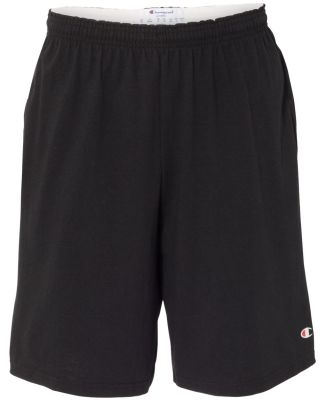 "Champion 8180 9"" Inseam Cotton Jersey Shorts with  Black"