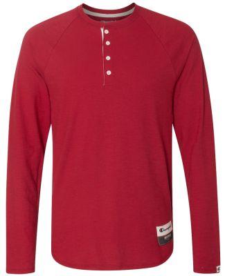 Champion AO380 Authentic Originals Slub Henley Carmine Red