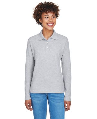 D110W Devon & Jones Ladies' Pima Pique Long-Slee GREY HEATHER
